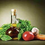 Artland Glas Bild Wandbild Anna Subbotina Gesundes Gemüse und Olivenöl Zitrone Tomate Möhre Knoblauch Basilikum Gewürze Ernährung Genuss Lebensmittel Gemüse Fotografie Grün