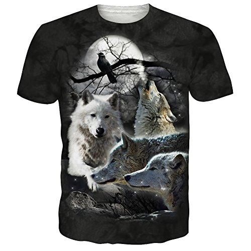 Herren Stilvolle-print T-shirt (Leapparel Unisex 3D Wilde Wolf Print T-shirt Kurzarm Mode T-shirt Top für Teen Schwarz M)