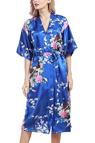 Dolamen Damen Morgenmantel Kimono, glatte Satin Nachtwäsche Bademantel Robe mit Peacock und Blume Kimono Negligee Seidenrobe locker Schlafanzug, Langer Stil (Medium, Königsblau) (Kimono)