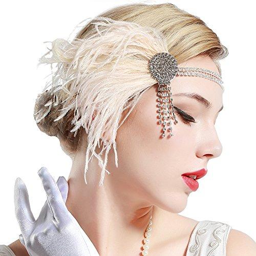 ArtiDeco 1920s Feder Stirnband 20er Jahre Stil Flapper Satin Haarband Great Gatsby Stirnband Damen Kostüm Accessoires (Rosa)