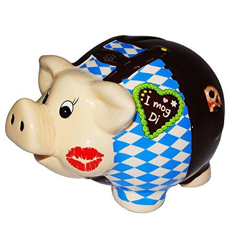 """Preisvergleich Produktbild große Spardose - """" Sparschwein Oktoberfest - Bayern """" - stabile Sparbüchse aus Porzellan / Keramik -lustig witzig - Tracht Deko Accessoires - Lederhose """" I mog Di """" - Reisekasse / Kinder Mädchen & Jungen - Geldgeschenk - Wiesn"""