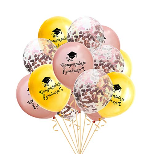 Amosfun 12 Zoll Herzlichen Glückwunsch Grad Rose Gold Pailletten Konfetti Gratulieren Diplom Ballons Kombination Partei Liefert Dekoration 15 (Partei Dekorationen Und Liefert)