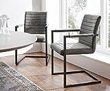 Küchenstuhl Earnest Vintage Freischwinger Design Stuhl (Grau, Gestell Metall Schwarz)