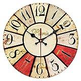 QIAOB 14Inch Moderno Minimalista Madera Creativa Pared-montado Reloj de Cuarzo para Sala de Estar/Dormitorio y Cocina,D