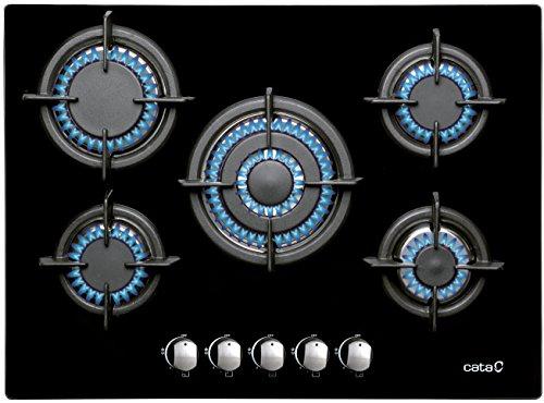 Cata 08046403 Gaskochfeld auf 8 mm starken schwarzem Glas, 70 cm Breite, Wok-Brenner