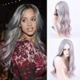Royalvirgin New Arrival Silver Grey/Purple Ombre Body Wave Wigs Synthetic Lace Front Wig Glueless Long Natural Heat Resistant Hair