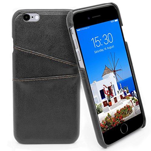 MyGadget Funda Back Case en Cuero PU con Tarjetero para Apple iPhone 6 / 6s - Carcasa Portatarjetas en Piel Sintética con bolsillo [2 ranuras] - NegroCASE PARA SMARTPHONE - Esta elegante Cubierta trasera en cuero esta desarrollada con un estilo senci...