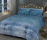 Winter Night Sterne Bäume Schnee blau Baumwolle-Mischgewebe Single Bettbezug