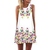 VEMOW 2018 Neue Mode Vintage Boho Elegante Damen Frauen Lose Sommer Sleeveless 3D Blumendruck Bohe Casual Täglichen Party Strand Tank Minikleid(Weiß 2, EU-44/CN-L)