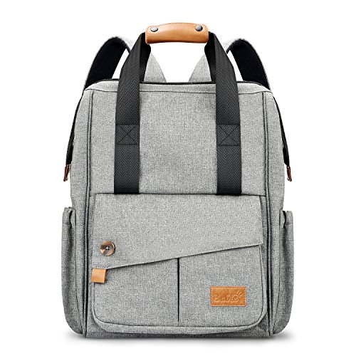 Changing Bag Nappy Backpack Travel – Large Capacity Diaper Bag Multi-function Stylish for Mummy Dad Outdoor Insulated Pockets with Free Changing Pad Stroller Strap Gray 51inc6LTc0L