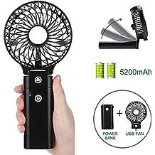COMLIFE Mini USB Ventilador de Mano Portátil Plegable Ventilador de Sobremesa con 5200mAh Batería Recargable para