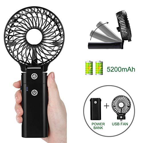 COMLIFE Mini Ventilador USB de Mano Portátil Plegable de Sobremesa con 5200mAh Batería Recargable para Oficina, Hogar, Viajes, Ejercicio al Aire libre, etc.