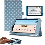 """TECHGEAR® Tesco Hudl 2 8.3"""" Premium PU Leather Folio Case Cover with Stand + Complimentary Screen Protector & Screen Cleaning Cloth [BLUE + POLKA DOT]"""