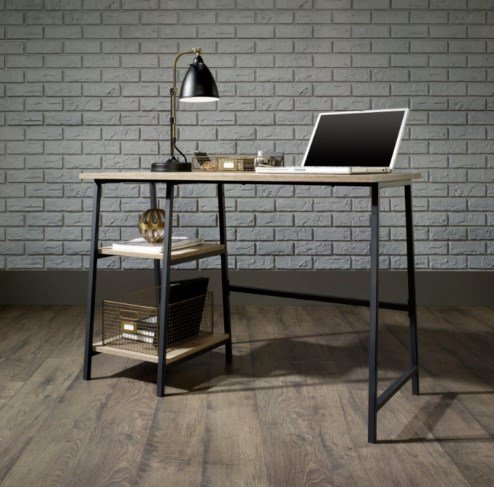 Vintage Industrial Desk Rustic Writing Furniture Office Computer Table Large Metal Leg Retro Style Cabinet Compact Workstation 2 Wooden Small Shelves Laptop Stand Study PC Storage Unit Urban Design