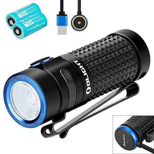 Olight S1R Baton II Mini Taschenlampe 1000 Lumen CW LED-Kompakt-EDC-Brenner Magnetische USB-wiederaufladbare kleine Taschenlampe, mit 2 * 16340 Akku + BanTac Batteriefach -