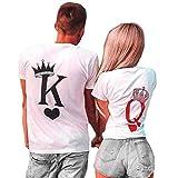 King Queen Couple Assorti T-Shirts Ensemble Tops Manches Courtes Tees Saint Valentin...