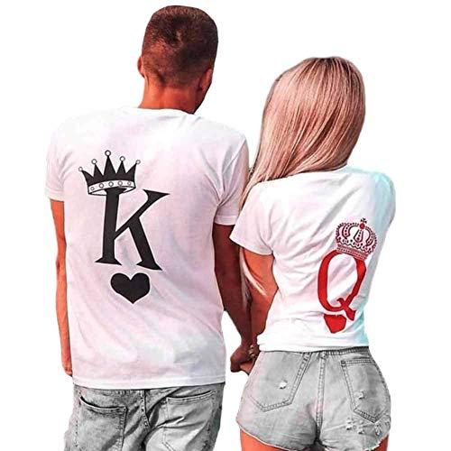 König Königin passende Paar T-Shirts Set Kurzarm Tops Tees Valentines Freund Freundin Ehemann Frau Liebe Cool Lustiges Geschenk Geschenk Sommer Männer Frauen Shirts (Paar Valentine Outfits)