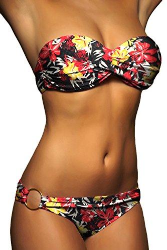 ALZORA Push Up Bandeau Twist Bikini Set Damen Pushup Badeanzug viele bunte Farben und Größen Top + Hose Set , 50001 A12