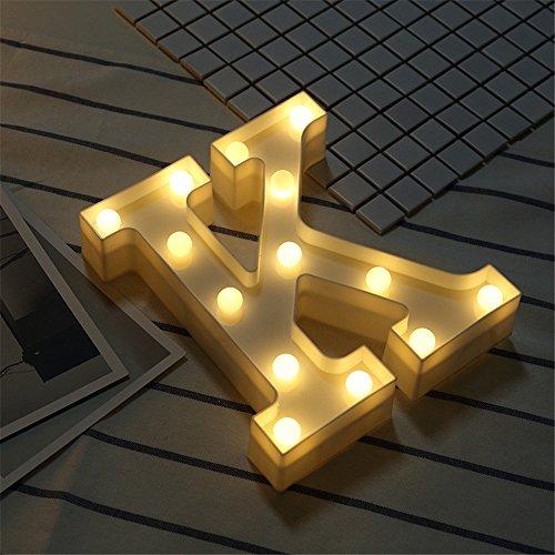htung Alphabet Event Dekoration Nachtlichter Stimmungslicht Schlummerleuchten Lampen Kunststoff Dekorationen für Geburtstag Party Hochzeit (K) (Kunststoff-dekorationen)