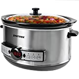Syntrox Germany – 4,5 litros Digital LED Acero inoxidable Slow Cooker con temporizador y función de mantenimiento en caliente