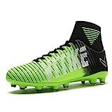Kinder und Männer AG Fußball Stiefel Teenager Fußball Leichtathletik Training Schuhe Fußballschuhe Damen/Mädchen(Grün EU39)