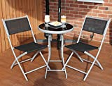 Charles Jacobs 2016 Black Folding Garden Bistro Table & 2 Chair Set Outdoor All Weather Patio & Conservatory Furniture