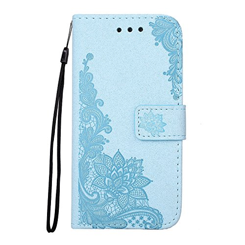 Glitter Sparkles Flower Embossing Style Housse en cuir PU Case sacoche avec Soft TPU Back Cover & Lanyard & Kickstand pour iPhone 6 & 6s ( Color : Red ) Blue