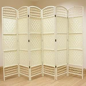 Hartleys Cream 6 Panel Hand Made Wicker Room Divider