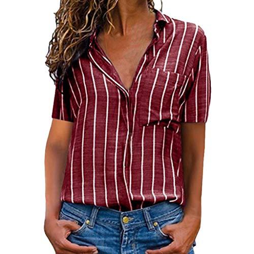 GOKOMO Chiffon Hemd V-Ausschnitt Drücken Gestreiftes Damen Shirt Damen Freizeit Oberteil Bequem Elegant Dating(rot,Small)