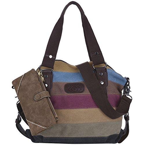 Coofit Damen Mädchen Handtasche Umhängetasche Schultasche Leinwand Multifunktion mit Schulterträger (colorful 01) (Bunte With Wallet) Bunte With Wallet