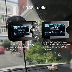 FirstE-Car-DABDAB-Radio-Adapter-Portable-Crystal-Digital-Sound-FM-Transmitter-24-TFT-Color-Display-Bluetooth-Receiver-Handsfree-CallTF-Card-PlayDual-USB-Car-Charger3M-Antenna