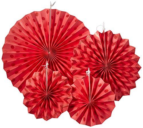 295000-40Apple Rot Glitzer Papier Fans ()