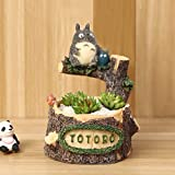 BANCHUN Ornamenti per La in Camera Miyazaki Gilli Gatto Bean Dragon Nuovo Drago Gatto Dodo Fiore Vaso Resina DIY Bambola Ceppo Multi-Carne Vaso