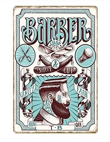 KUSTOM FACTORY Picture Gifts Placa Acero Barber Shop