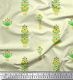 Soimoi Gelb Seide Stoff Blumenvase Clip Art Stoff drucken