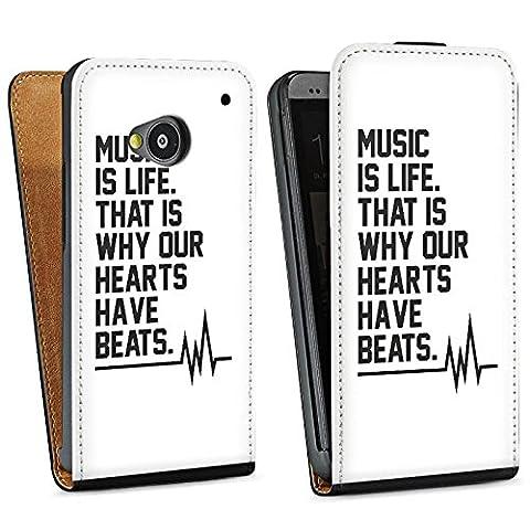HTC One M7 Tasche Schutz Hülle Walletcase Bookstyle Music Musik Sprüche
