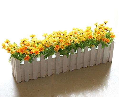 NOHOPE Staccionata in legno fiore di emulazione / falsi fiori idilliaco piccoli vasi di emulazione / flower art staccionata in legno fiori di plastica indoor e outdoor home decor ornamenti - Delphinium Vaso