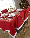 Santa's Table Red and White Rectangular Tablecloth Ideal For 6-8 Place Settings (52x90inch-132x228centimeter Approx)