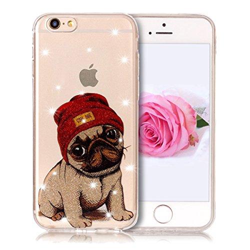 Coque iPhone 6 / 6S, SpiritSun Clair Transparente Etui Coque en Silicone pour iPhone 6 / 6S (4.7 pouces) Flexible TPU Housse Etui Souple Silicone Etui Coque de Protection Mince Légère Etui Téléphone D Chien