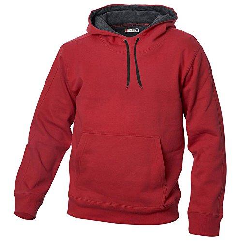 Kapuzen Sweater Sweatshirt Hoody mit kontrastfarbener Kapuze in 14 Farben und den Grössen S, M, L, XL, XXL, 3XL und 4XL Rot