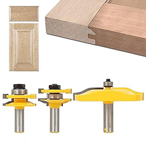 hangboughteu 3Zunge Groove Router Bit Set, 1/2Schaft erhöhte Panel Schrank Tür Ogee Haltegriff und Stil Router Bit Holz-Meißel Cutter Tools (Raised Bit Panel)