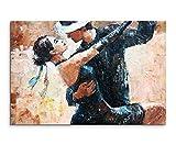 Wandbild 120x80cm Digitales Gemälde – Tangotänzer auf Leinwand für Wohnzimmer, Büro, Schlafzimmer, Ferienwohnung u.v.m. Gestochen scharf in Top Qualität