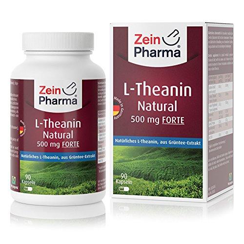 ZeinPharma L-Theanine 500mg • 90 gélules (alimentation 3 mois) • extrait de thé vert riche en polyphénols naturels • aident a se détendre sans être fatiguer. • Fabriqué en Allemagne