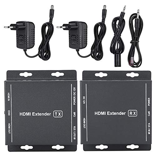 60M HDMI Fiber Optischer Medienkonverter Extender Video Audio Transmitter Receiver Verlängerunsgerät 100-240V(schwarz) Video Audio Transmitter Receiver