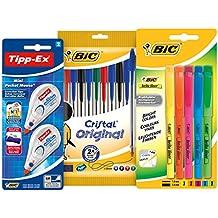 BIC 942147 - Estuche con 10 bolígrafos de colores, 5 marcadores y 2 correctores