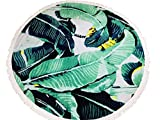 """Snow Courage Prenium Quality 60"""" Large Thick 100% Velour Cotton Leaves Round/Roundie Beach Towel Throw Blanket For Beach Pool Bath Yoga Spa Picnic Decorative Sofa/Table Cover"""