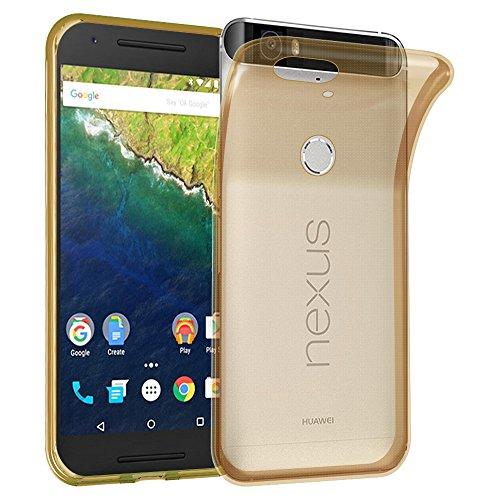 Preisvergleich Produktbild Cadorabo Hülle für Huawei Nexus 6P - Hülle in TRANSPARENT Gold – Handyhülle aus TPU Silikon im Ultra Slim 'AIR' Design - Silikonhülle Schutzhülle Soft Back Cover Case Bumper