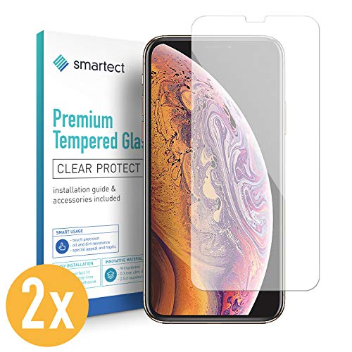 smartect Glass Screen Protector for iPhone Xs Max [2 Pack] - 9H Tempered Glass - Ultra-Thin Design - Bubble-Free Installation - Anti-Fingerprint