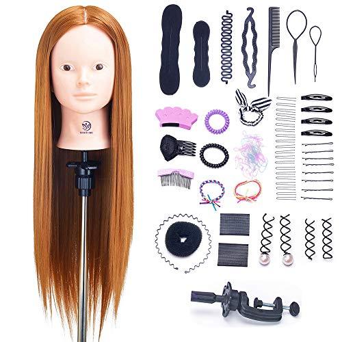 """SIGHTLING 26"""" 60% Veri Capelli Testina Parrucchiere Testa Studio Parrucchiere Manichino Cosmetologia Formazione Pratica Modello Capelli con Morsetto & DIY Hair Styling Tools"""