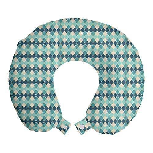 ABAKUHAUS marokkanisch Reisekissen Nackenstütze, Mosaik-Fliesen Inspired Art, Schaumstoff Reiseartikel für Flugzeug und Auto, 30x30 cm, Schiefer-Blau Eggshell
